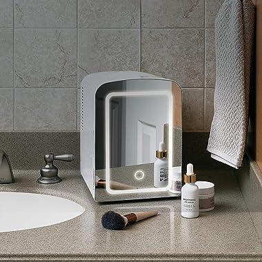 Chefman Portable Mirrored Beauty Fridge With LED Lighting 4 Liter Mini Refrigerator, Skin Care, Makeup Storage, w/Mirror &amp