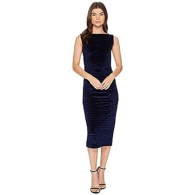 Nicole Miller Striped Velvet Lauren Ruched Dress (Navy) Women