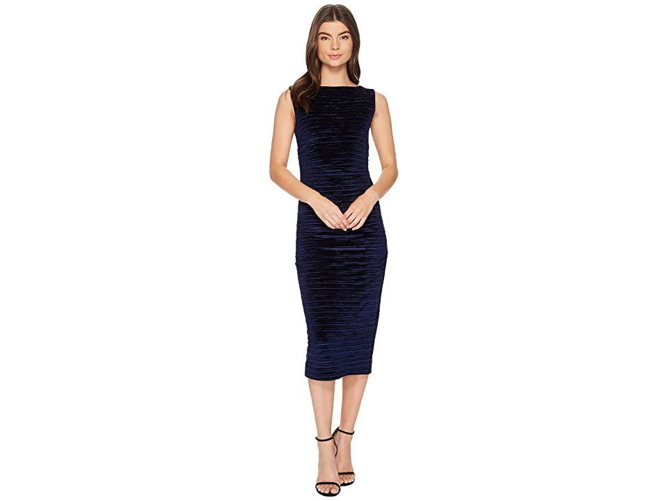 Nicole Miller Striped Velvet Lauren Ruched Dress (Navy) Women