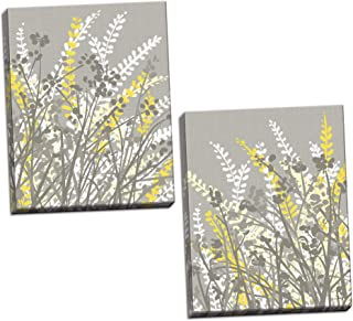 Gango Home Décor 2 Gray, White and Yellow Floral Meadow Print Set; Two 11x14in Canvases