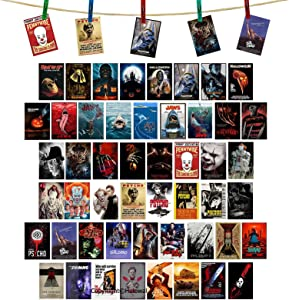 Classic Horror Movie Poster 50 PCS Wall Collage Kit Movie Poster Aesthetic Pictures Collage Small Posters Home Dorm Bedroom Wall Decor for Teens and Young Adults 4 X 6 Inch