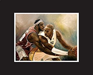 Kobe Bryant, LeBron James, top basketball players, Oil Painting Print 16 x 20