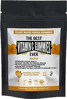 The Best Vitamin C Gummies Ever Vegan Plant Based Gluten & Gelatin Free Non GMO Kosher Natural Orange Flavor 250mg Immune ...
