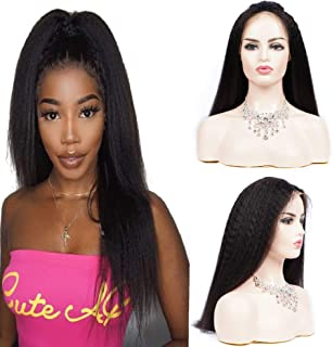 Lace front wigs human hair pre plucked 150% Density 13x4 lace front wigs for black women Brazilian hair kinky straight wig Natural color hair(10inch)