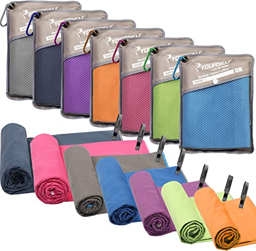 SYOURSELF Microfiber Sports & Travel Towel- XL, L, M, S -Fast Dry, Lightweight, Absorbent, Soft - Perfect for Beach Y...