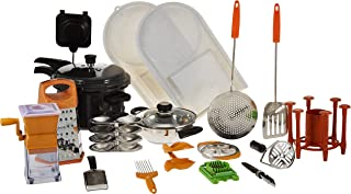 Anjali Complete Kitchen Set with Deluxe Plus Pressure Cooker, Silver/Black, 5 Liters, AJ-PR-B-18-5LH, 18 Pieces