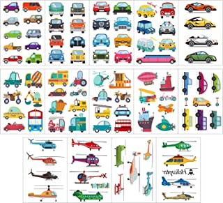 Phogary 14 Sheets Temporary Tattoos Vehicle Theme - Cars, Motors, Ships, Helicopters Pattern Body Art Waterproof Fake Tattoos for Kids