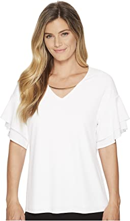 Calvin Klein - Double Ruffle Short Sleeve Top w/ Chain