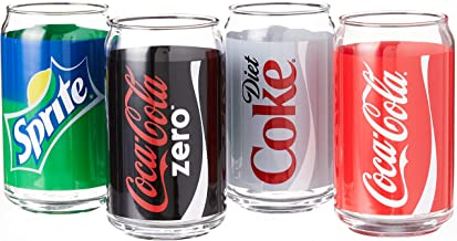 Luminarc Coca-Cola Assorted Decorated Cans, Includes Coke, Diet Coke, Coke Zero and Sprite (Set of 4), 16 oz
