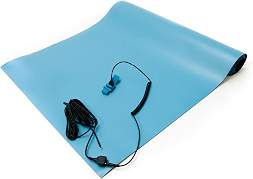 Bertech ESD High Temperature Mat Kit, 2 Feet Wide x 6 Feet Long x 0.08 Inches Thick, Blue, Includes a Wrist Strap and...