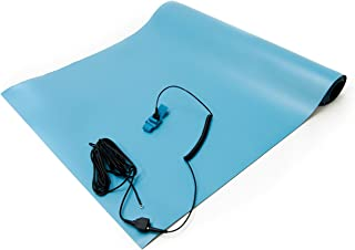 Bertech ESD High Temperature Rubber Mat Kit with a Wrist Strap and a Grounding Cord, 3' Wide x 5' Long x 0.08