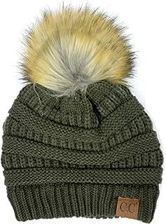 Soft Stretch Cable Knit Ribbed Faux Fur Pom Pom Beanie Hat