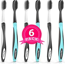 Nuva Dent Ultra Soft Charcoal Toothbrush - Gentle, Slim Brush Head, Medium Tip - Clean Plaque, Whiten Teeth - Works Well w/Activated Charcoal Toothpaste or Teeth Whitening Products, 6 Pack