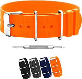 Benchmark Basics Silicone Rubber NATO Style Watchband + Spring Bar Tool - 18mm, 20mm & 22mm (Multiple Colors)