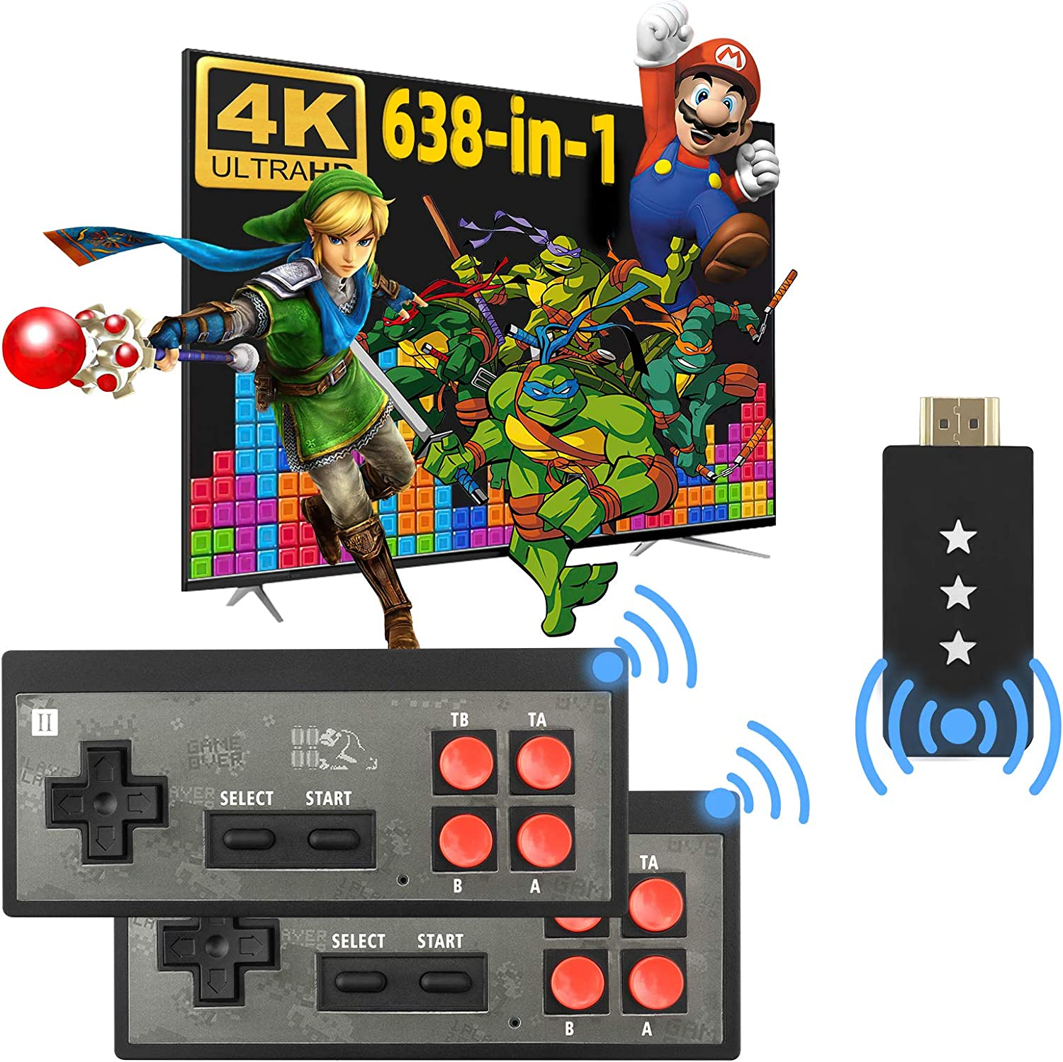 Fordim Retro Game Console, Wireless Controller, HDMI HD Output NES Game Console, Plug and Play Video Game Console, Built in 638 Classic Games, Mini Portable Host with TF Expansion, for Kids and Adult
