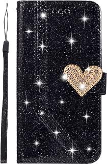 Ukayfe Compatibile con Samsung Galaxy A50 Custodia,Specchio Cover Lusso Brillante Glitter Fiore Diamante Strass Custodia con Tondo Anello Support Ultra Sottile Silicone Morbido Cover-Oro Rosa