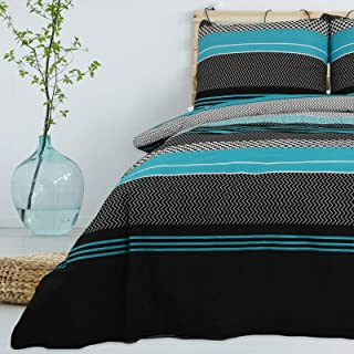 Bettwäsche 2 Teilig aus 100% Baumwolle Renforce mit Reißverschluss Bettwäscheset 1 Bettbezug und 1 Kissenbezug Komfortgröße, Größe 155x220 cm