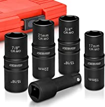 "Neiko 02282B 1/2"" Drive Impact Flip Socket Set, 5 Piece Thin Wall Set | Standard SAE.."