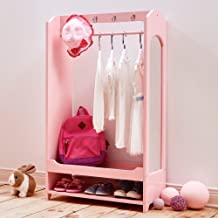 Teamson Kids - Windsor Wooden Dress Up Storage Kids Costume Organizer Center Open Hanging Armoire Closet Unit Furniture with Hooks and Mirror - Pink