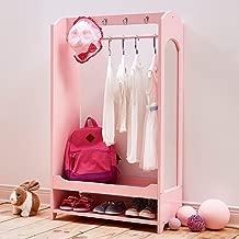 Teamson Kids - TD-12234P Windsor Wooden Dress Up Center, with 4 Hooks, 1 Mirror & Shoe Rack, Pink