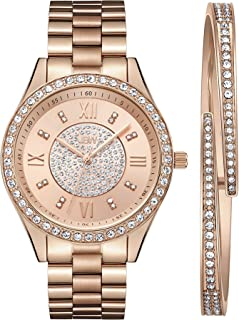 JBW Luxury Women's Mondrian 16 Diamonds & Swarovski Crystal Encrusted Bezel and Bracelet Set