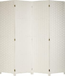 MyGift Shabby Chic 4-Panel Woven Seagrass Partition Room Divider/Privacy Screen, White