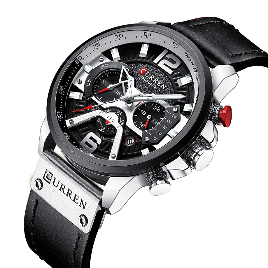 New Men Fashion Sport Chronograph Watch Stylish Business Casual Dress Quartz Leather Wristwatch with Calendar
