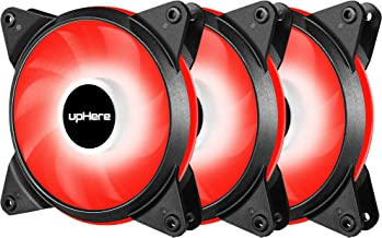 upHere 3-Pack 120mm 3-Pin High Airflow Quiet Edition Red LED Case Fan for PC Cases, CPU Coolers, and Radiators T3RD3-3