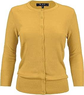 Women's 3/4 Sleeve Crewneck Button-Down Knit Cardigan Sweater (S-3X)