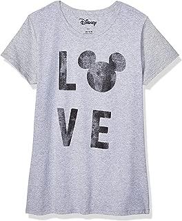 Disney Mickey Mouse Love Head Silhouette Womens Juniors Graphic Tee T-Shirt