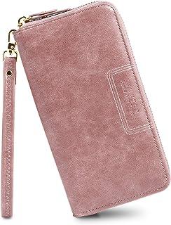 FT Funtor Wristlet Wallet for Women, Ladies Zip around Wallet PU Vegan Leather Clutch Long Purse Phone Card Holder Organiz...