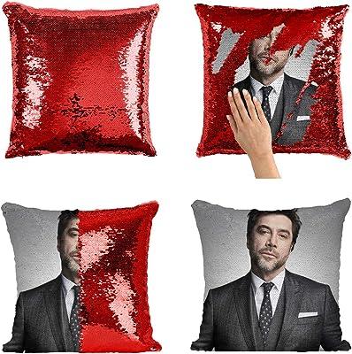Actor Javier Bardem in Suit - Funda de almohada con lentejuelas sexy MRZ3223 divertida funda de almohada reversible Magic Decor Decorotive para niña y ella (sin inserto)