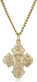 Men's 14k Gold-Filled 4-Way Medal Pendant Necklace with Gold-Plated Stainless Steel Chain, 24