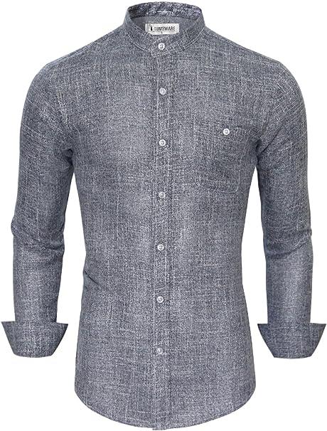 Mandarin Collar Button Down Shirt (Small) at Amazon Women