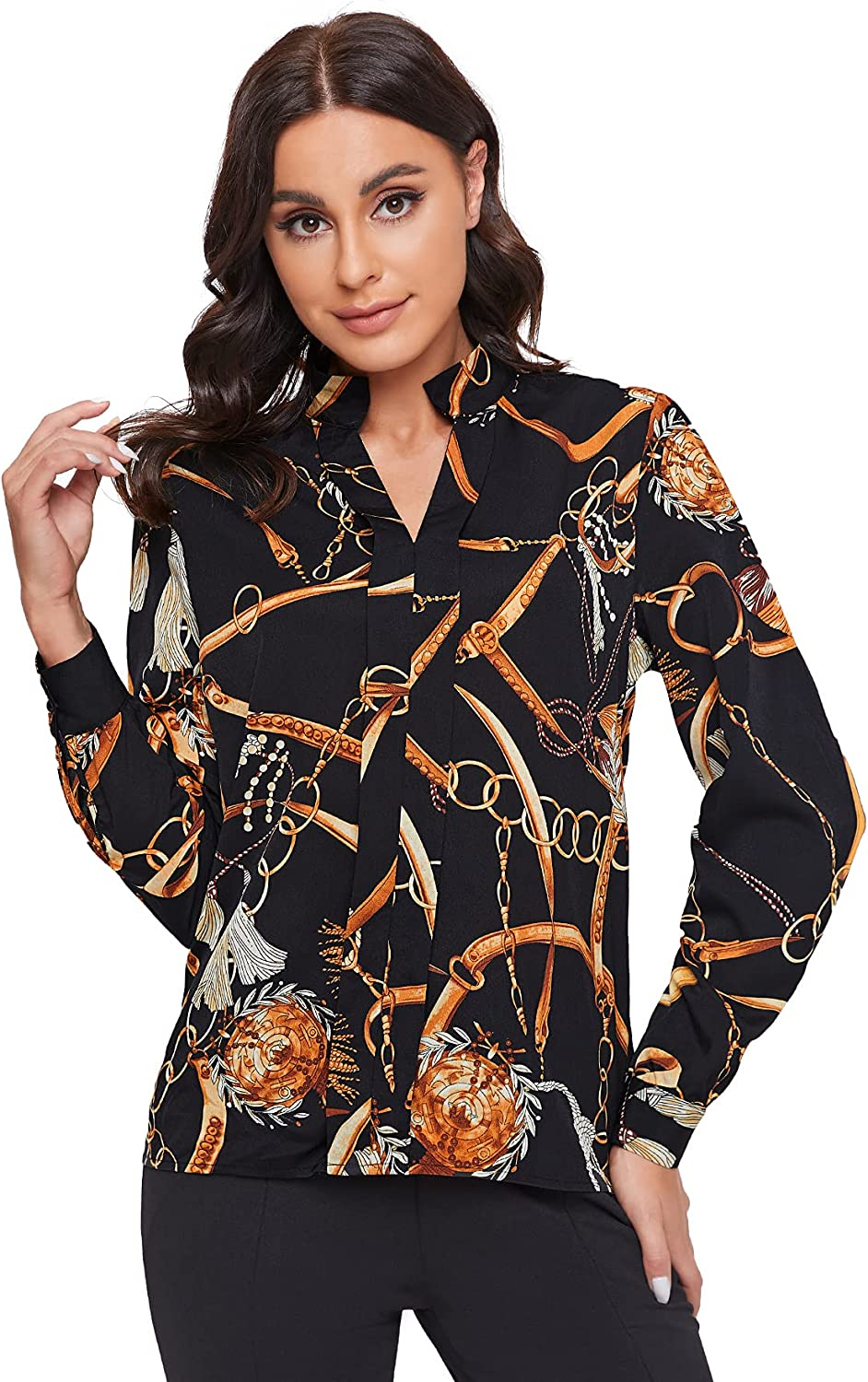 SheIn Women's Casual V Neck Long Sleeve Floral Tops Button Down Work Blouses