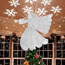 Ywlake Christmas Tree Topper with Lights Angel, Plug in Lighted Light Up Revolving Motion Christmas Tree Top Projection Pr...