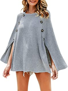BerryGo Women's Knitted Poncho Cap Batwing Sleeve Pullover Sweater Shawl