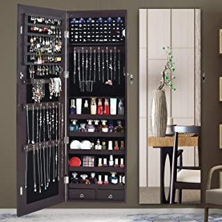 AOOU Jewelry Organizer Jewelry Cabinet, Full Screen Display View Larger Mirror, Lockable Wall Door Mounted, Full Length Mirror, Large Capacity Dressing Mirror Makeup Jewelry Armoire Organizer (Brown)
