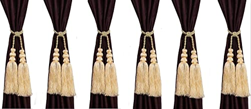 homesazz Polyester Tie Back Curtain (Beige) -Set of 6