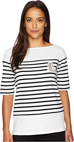 Petite Striped Bullion Jersey Top