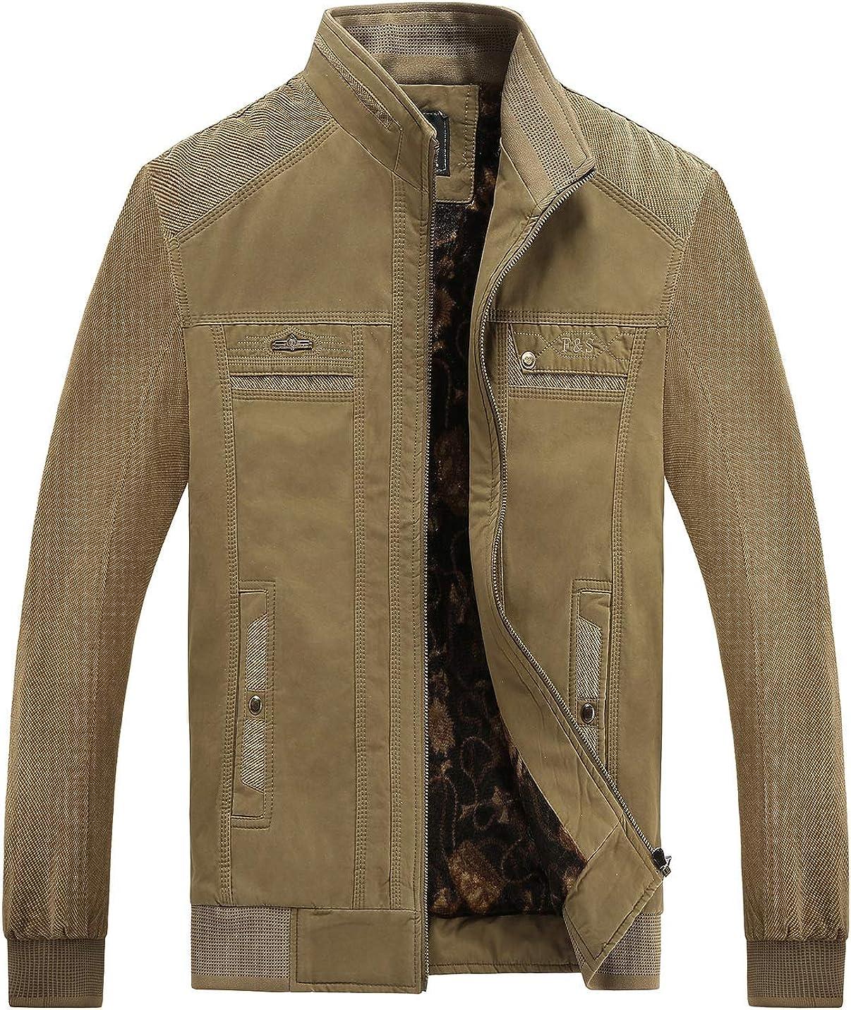 Gihuo Men's Durable Cotton Stand Collar Fleece Lined Jacket