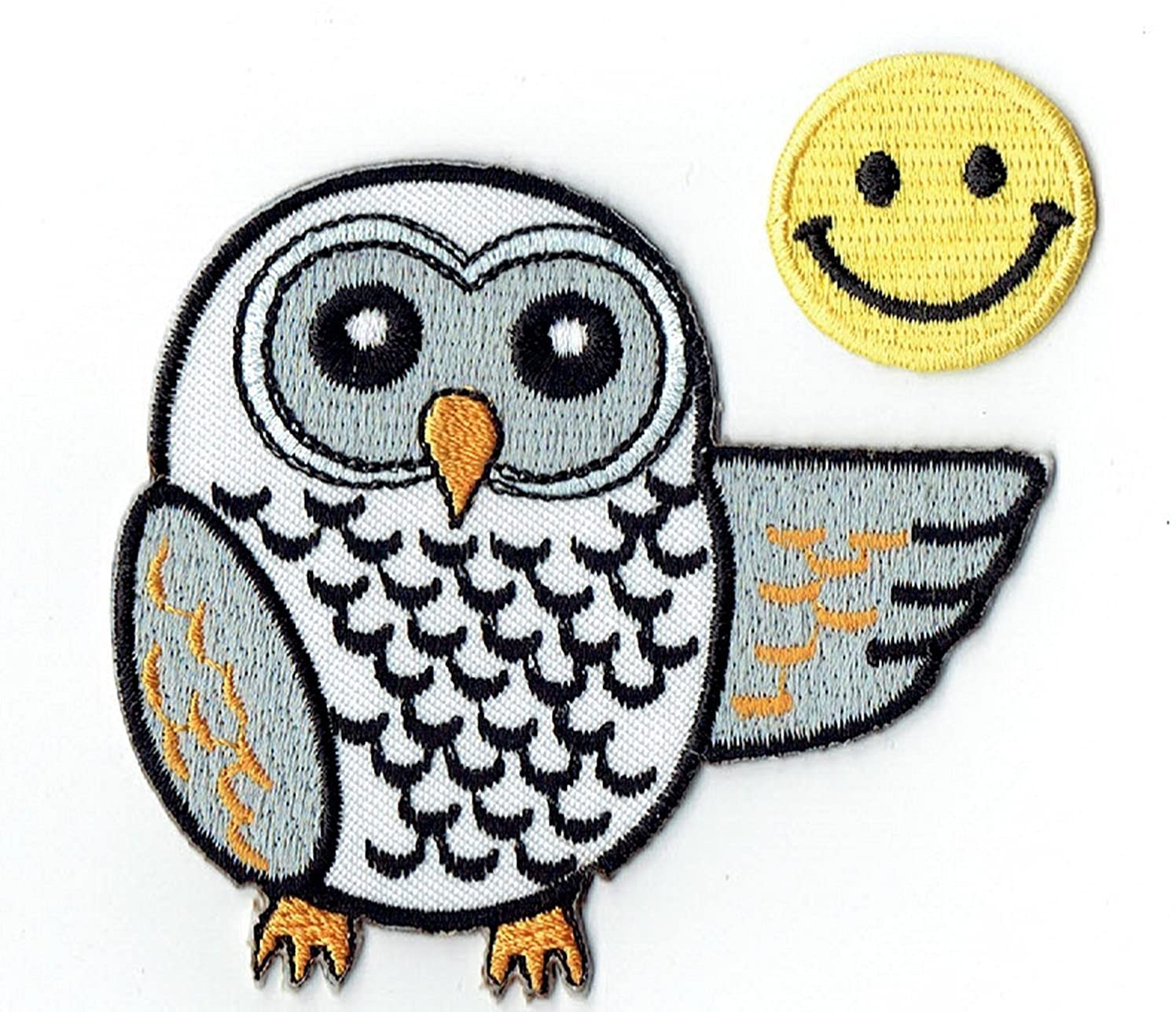 OWL Applique Embroidered Iron on Patches (Wappen, ワッペン, ??) with Yellow Tiny Smiley Patches by PATCH CUBE