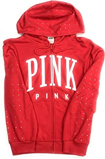 Victoria's Secret Pink Women's Oversized Full-Zip Hoodie Sweatshirt Rhinestone Bling Red