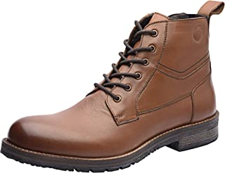 Allonsi Gaetan Men's Boots, Combat Boots, Ankle Dress Boot for Men, Design Genuine Leather Plain Toe Men Ankle Boots High Top Lace Up Dress Shoes