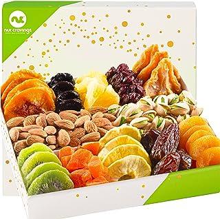 Dried Fruit & Nut Gift Basket in White Box (12 Piece Assortment) - Rosh Hashanah Arrangement Platter, Birthday Care Packag...