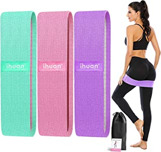 ihuan Resistance Bands for Legs and Butt, 3 Levels Exercise Band, Anti-Slip & Roll Elastic Workout Booty Bands for Women S...