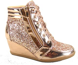 Women's Fashion Glitter High Top Lace Up Wedge Sneaker Shoes