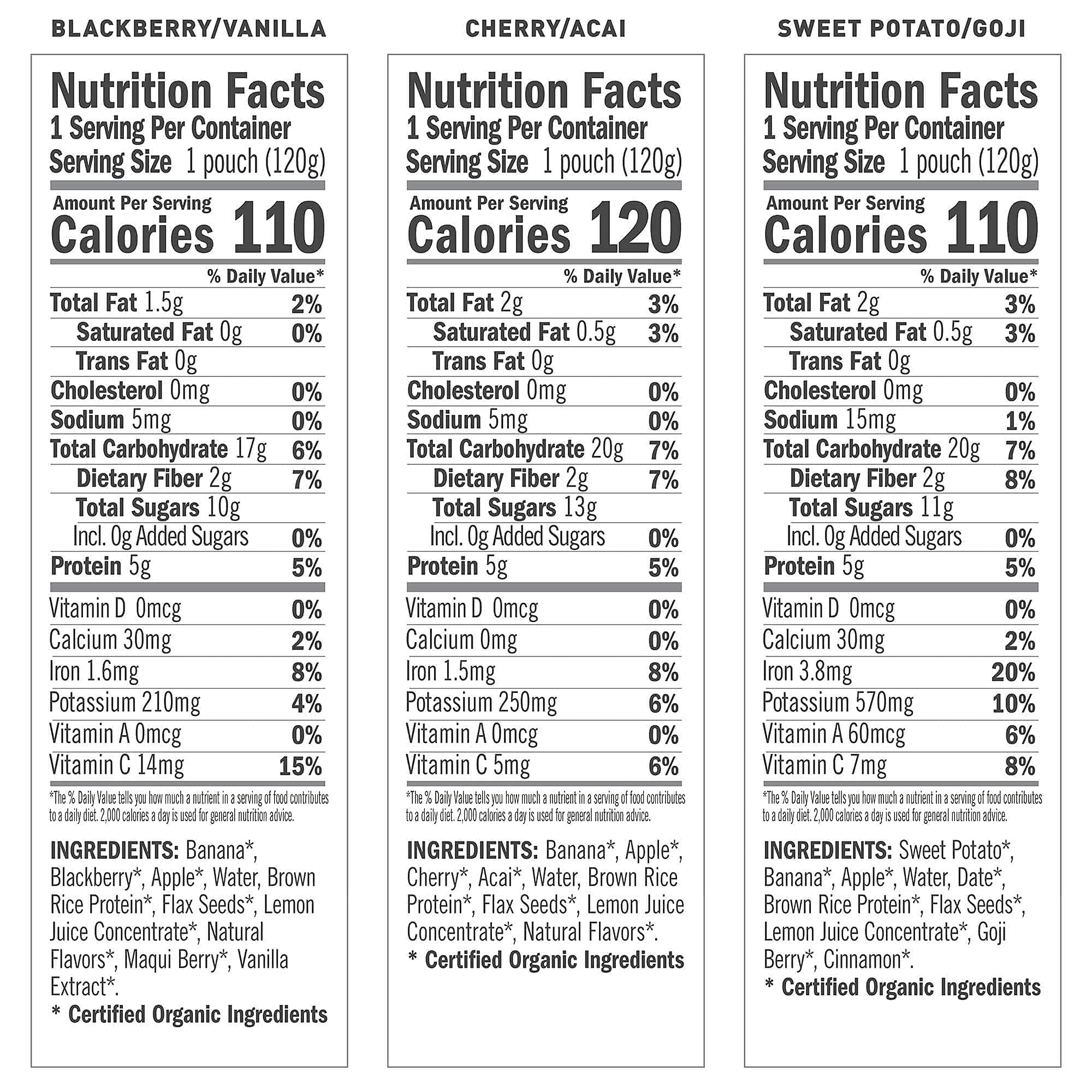 NOKA Superfood Smoothie Pouches (Variety) 6 Pack, 100% Organic Healthy Fruit And Veggie Squeeze Snack Packs, Meal Replacement, Non GMO, Gluten Free, Vegan, 5g Plant Protein, 4.2oz Ea (Packaging May Vary)