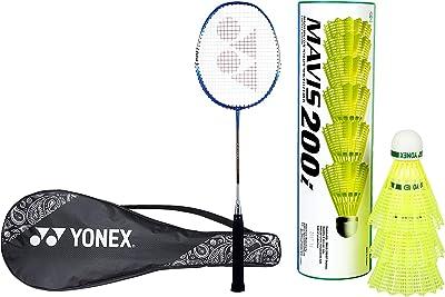 YONEX ZR 100L Aluminum Strung Badminton Racquet with Full Cover (Blue) & Mavis 200i Nylon Shuttle Cock, Pack of 6 (Yellow)