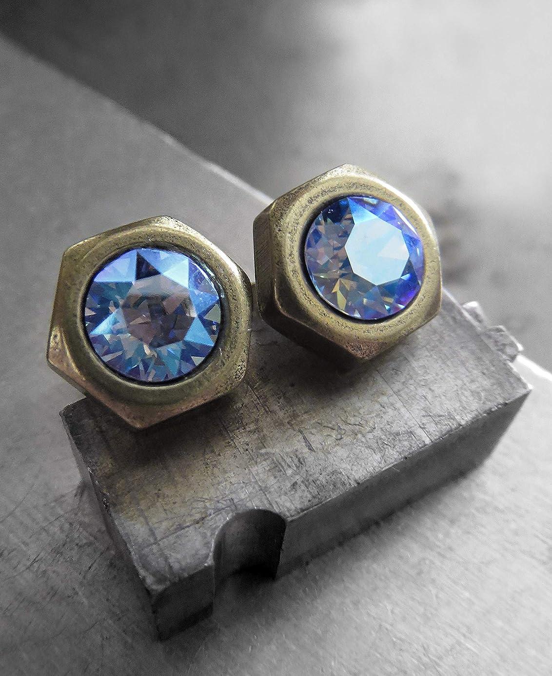 Mens Hex Nut Stud Earrings with Blue Swarovski Crystal - Unisex Hardware Jewelry